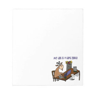 Funny Goat at Desk Goat Rodeo Job Humor Notepad