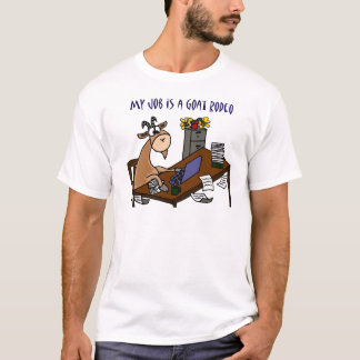 Funny Goat at Desk Goat Rodeo Job Humor T-Shirt