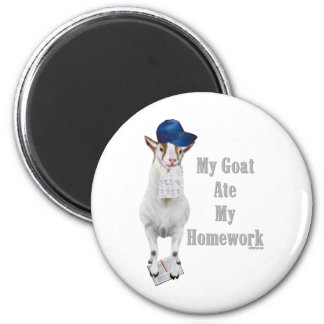 Funny Goat Ate My Homework 2 Inch Round Magnet