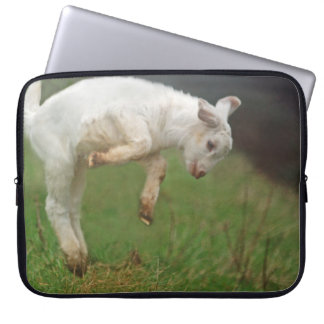 Funny Goat Baby White Goat Jumping in Pasture Computer Sleeves