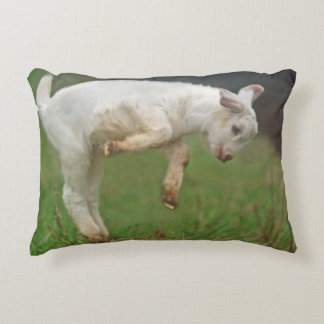 Funny Goat Baby White Goat Jumping in Pasture Decorative Pillow