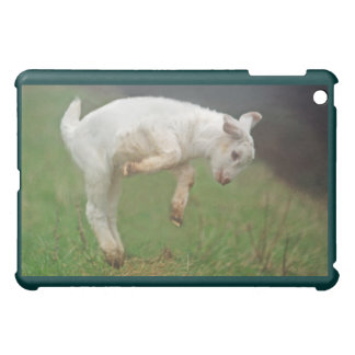 Funny Goat Baby White Goat Jumping in Pasture iPad Mini Cover