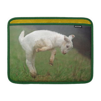 Funny Goat Baby White Goat Jumping in Pasture Sleeves For MacBook Air