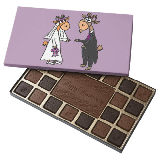 Funny Goat Bride and Groom Wedding 45 Piece Box Of Chocolates