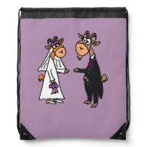 Funny Goat Bride and Groom Wedding Drawstring Backpack