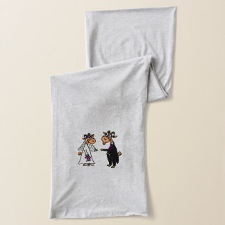 Funny Goat Bride and Groom Wedding Scarf