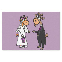 Funny Goat Bride and Groom Wedding Tissue Paper