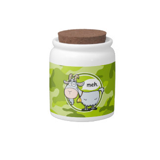 Funny Goat; bright green camo, camouflage Candy Jars