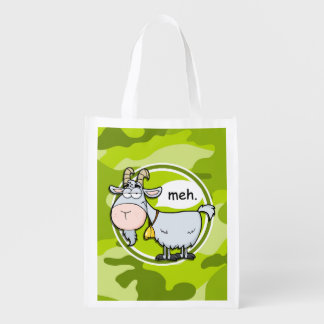 Funny Goat; bright green camo, camouflage Grocery Bag
