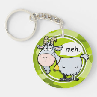 Funny Goat; bright green camo, camouflage Keychains