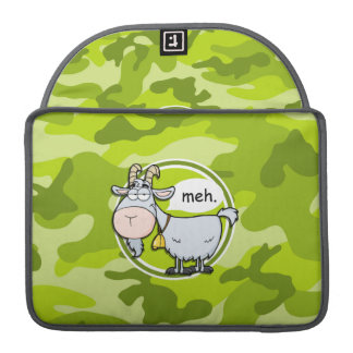 Funny Goat; bright green camo, camouflage MacBook Pro Sleeve