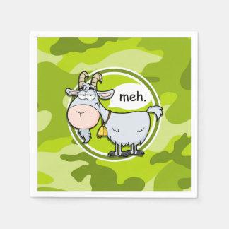 Funny Goat; bright green camo, camouflage Paper Napkin