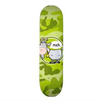 Funny Goat; bright green camo, camouflage Skateboard Deck