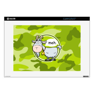 Funny Goat; bright green camo, camouflage Laptop Decal