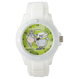 Funny Goat; bright green camo, camouflage Wrist Watch
