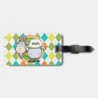 Funny Goat; Colorful Argyle Pattern Bag Tag