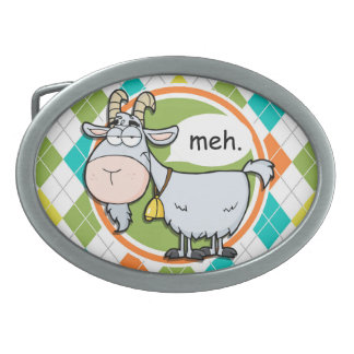 Funny Goat; Colorful Argyle Pattern Belt Buckle