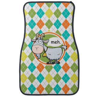 Funny Goat; Colorful Argyle Pattern Car Mat