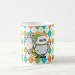 Funny Goat; Colorful Argyle Pattern Classic White Coffee Mug