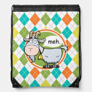 Funny Goat; Colorful Argyle Pattern Drawstring Backpack