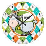 Funny Goat; Colorful Argyle Pattern Large Clock