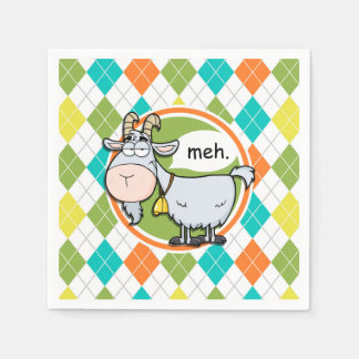 Funny Goat; Colorful Argyle Pattern Paper Napkin