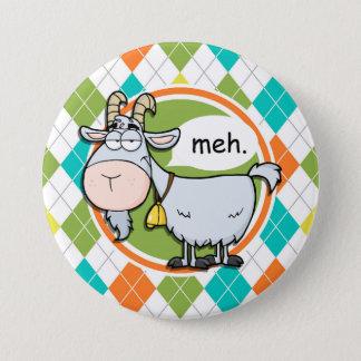 Funny Goat; Colorful Argyle Pattern Pinback Button