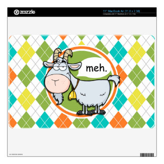 Funny Goat; Colorful Argyle Pattern Decal For MacBook Air