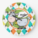 Funny Goat; Colorful Argyle Pattern Wallclock