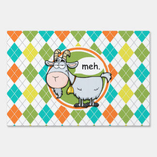 Funny Goat; Colorful Argyle Pattern Yard Sign