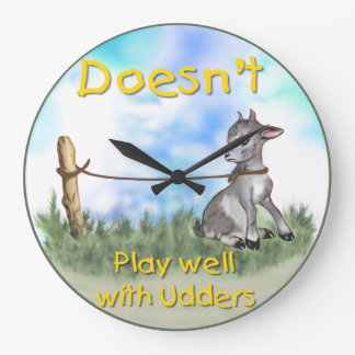 Funny Goat Doesnt Play Well with Udders Wall Clock