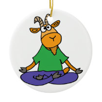 Funny Goat Doing Lotus Position Yoga Ceramic Ornament