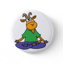 Funny Goat Doing Lotus Position Yoga Pinback Button