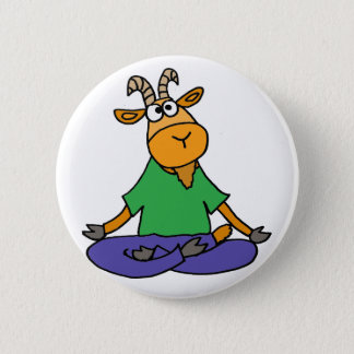 Funny Goat Doing Lotus Position Yoga Pinback Button