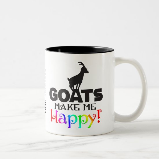 FUNNY GOAT | GOATS Make me Happy Two-Tone Coffee Mug