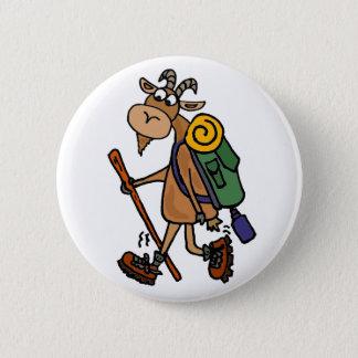 Funny Goat Hiking Art Pinback Button
