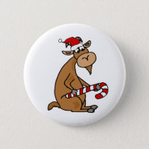 Funny Goat in Santa hat Cartoon Button