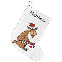 Funny Goat in Santa hat Cartoon Large Christmas Stocking