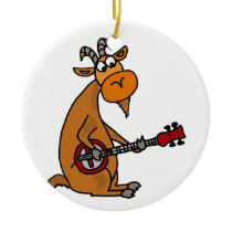 Funny Goat Playing Banjo Art Ceramic Ornament