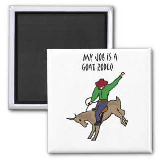 Funny Goat Rodeo Job Humor Cartoon 2 Inch Square Magnet