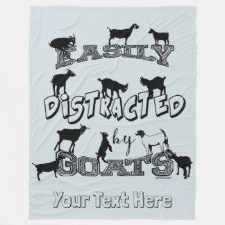 FUNNY GOAT SAYING   Easily Distracted by Goats GYG Fleece Blanket