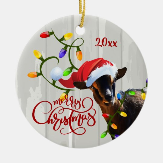 Funny Goat Tangled in Christmas Lights Ornament