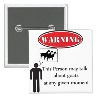 Funny Goat Warning 2 Inch Square Button