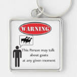 Funny Goat Warning Silver-Colored Square Keychain