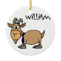 Funny Goat with Tie Named William Ceramic Ornament