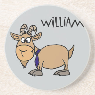 Funny Goat with Tie Named William Drink Coaster