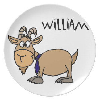 Funny Goat with Tie Named William Party Plates