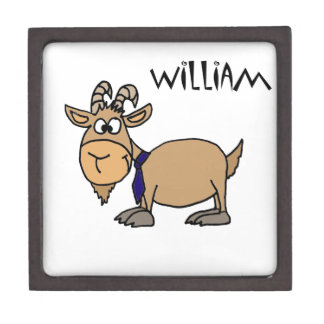 Funny Goat with Tie Named William Premium Trinket Boxes