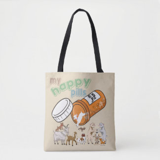 FUNNY GOATS | CUSTOMIZE My Happy Pills GetYerGoat Tote Bag