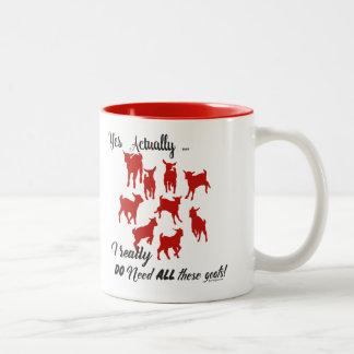 FUNNY GOATS   DO NEED all These Goats GetYerGoat™ Two-Tone Coffee Mug